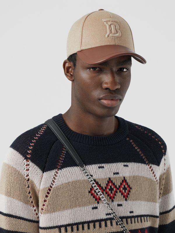 Monogram Motif Cashmere and Leather Baseball Cap in Camel | Burberry - cell image 3