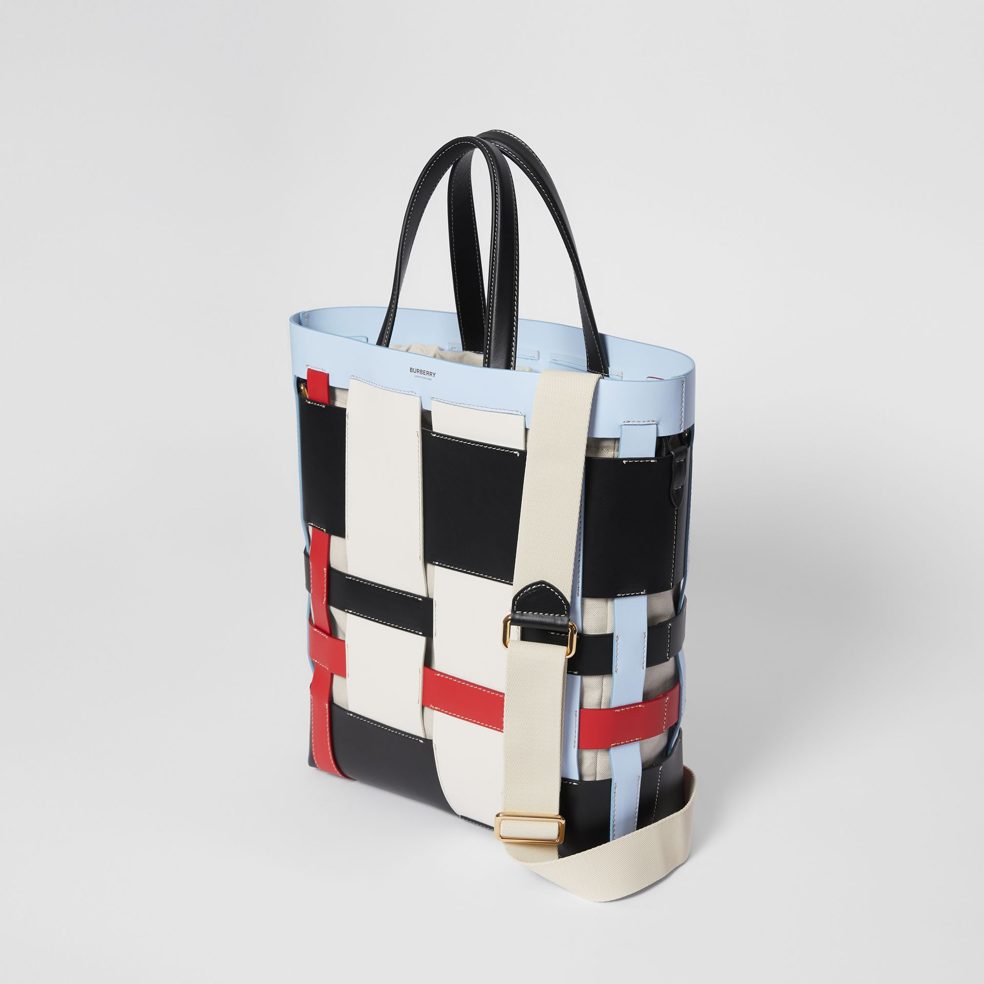 Medium Colour Block Leather Foster Tote in Blue - Women | Burberry - gallery image 3