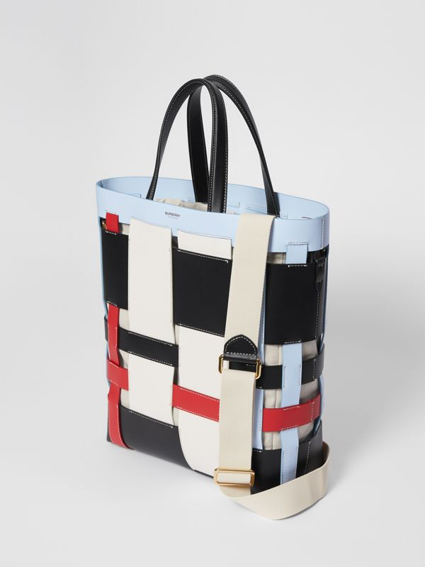 Medium Colour Block Leather Foster Tote in Blue - Women | Burberry - cell image 3