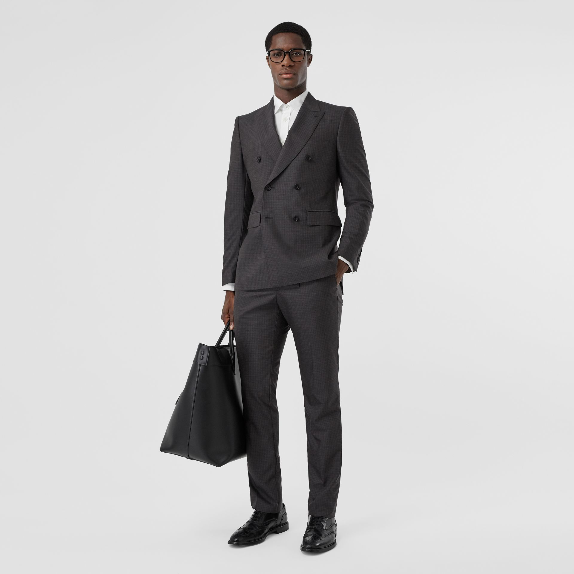 Classic Fit Windowpane Check Wool Silk Suit in Dark Grey - Men | Burberry - gallery image 0