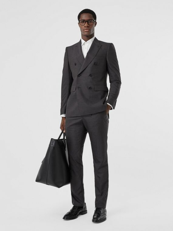 Classic Fit Windowpane Check Wool Silk Suit in Dark Grey