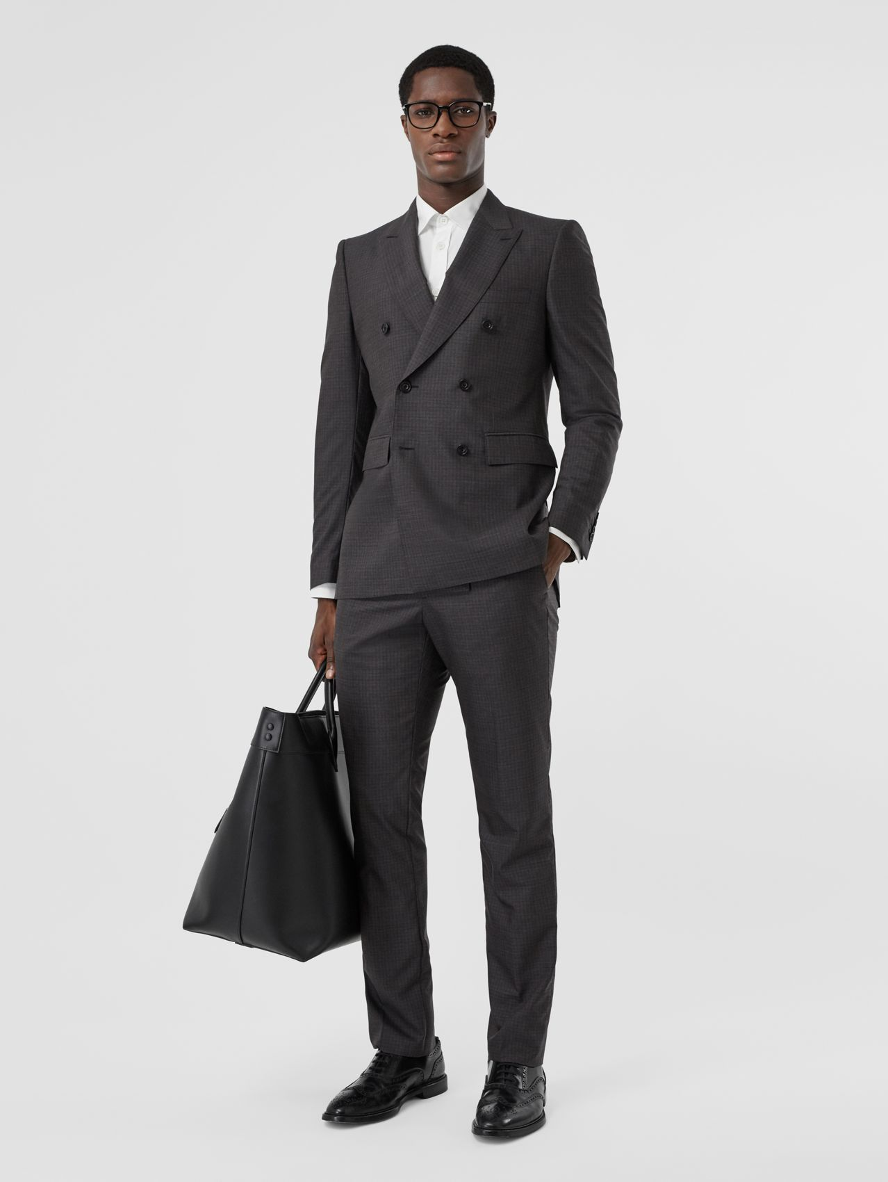 Classic Fit Windowpane Check Wool Silk Suit (Dark Grey)
