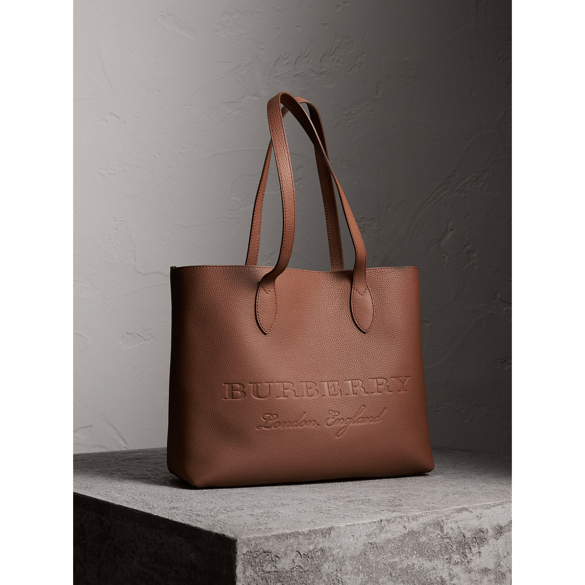 Large Embossed Leather Tote in Chestnut Brown - Women | Burberry - gallery image 6