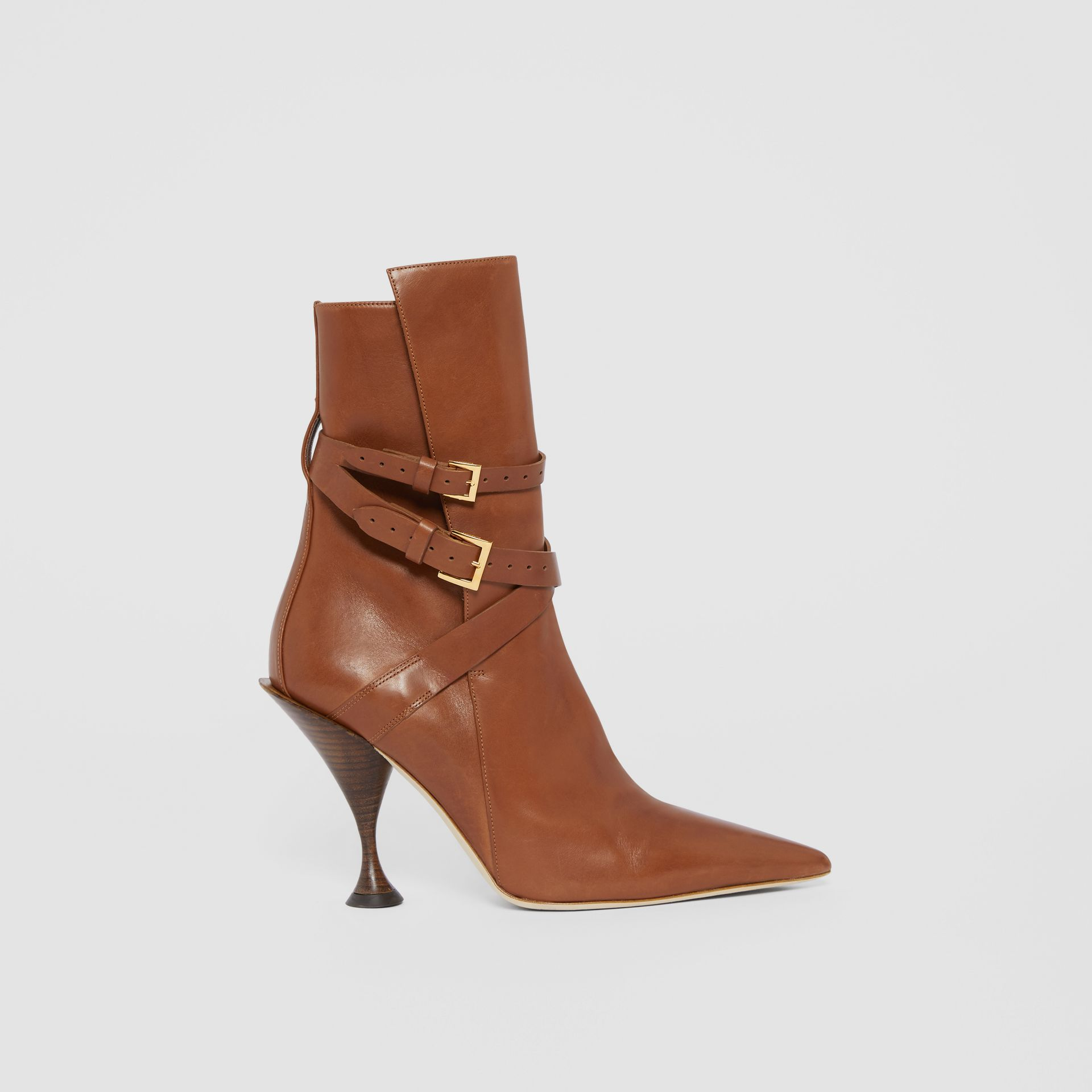 Strap Detail Leather Ankle Boots in Tan - Women | Burberry Hong Kong S.A.R - gallery image 5
