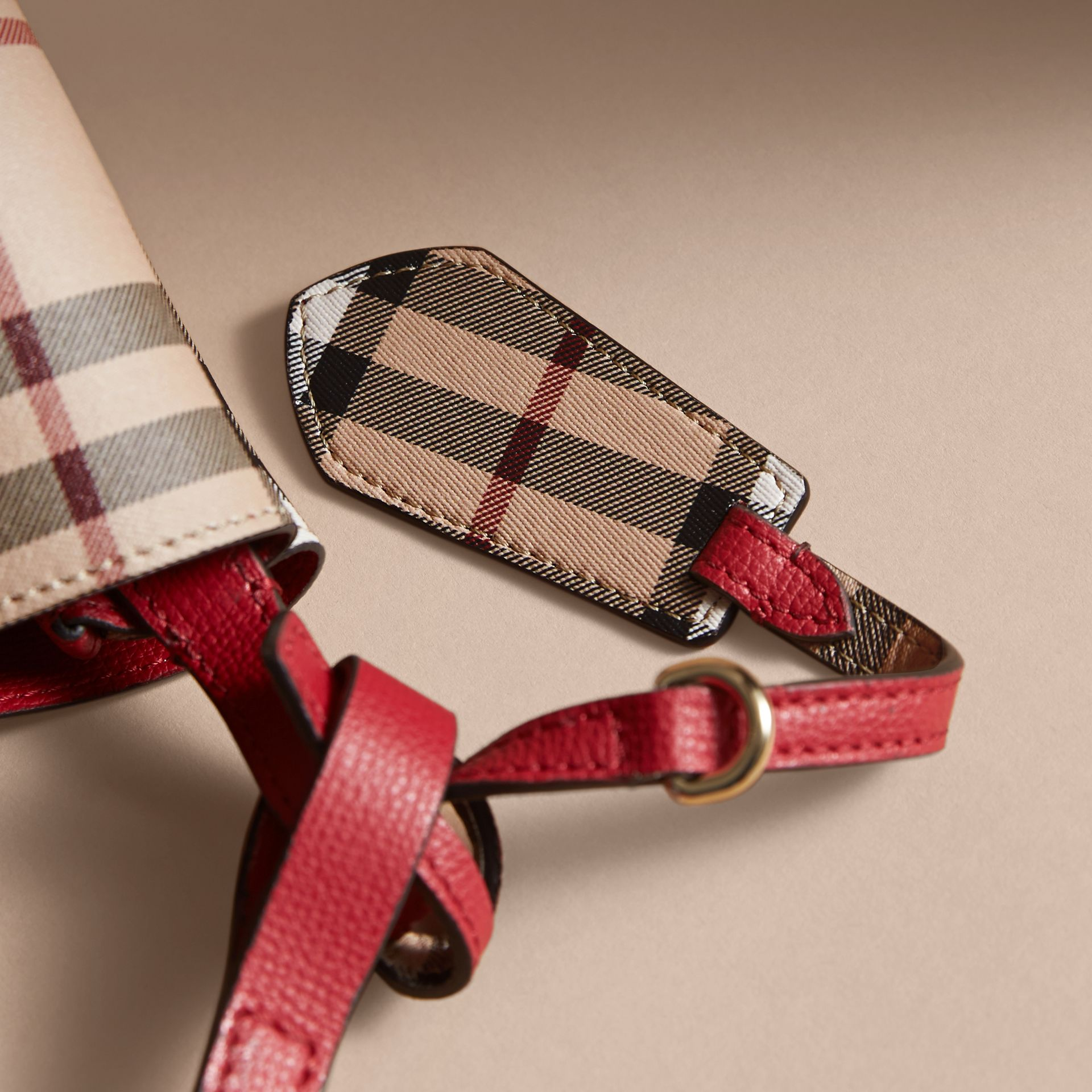 Leather and Haymarket Check Crossbody Bucket Bag in Poppy Red - Women | Burberry United States - gallery image 2