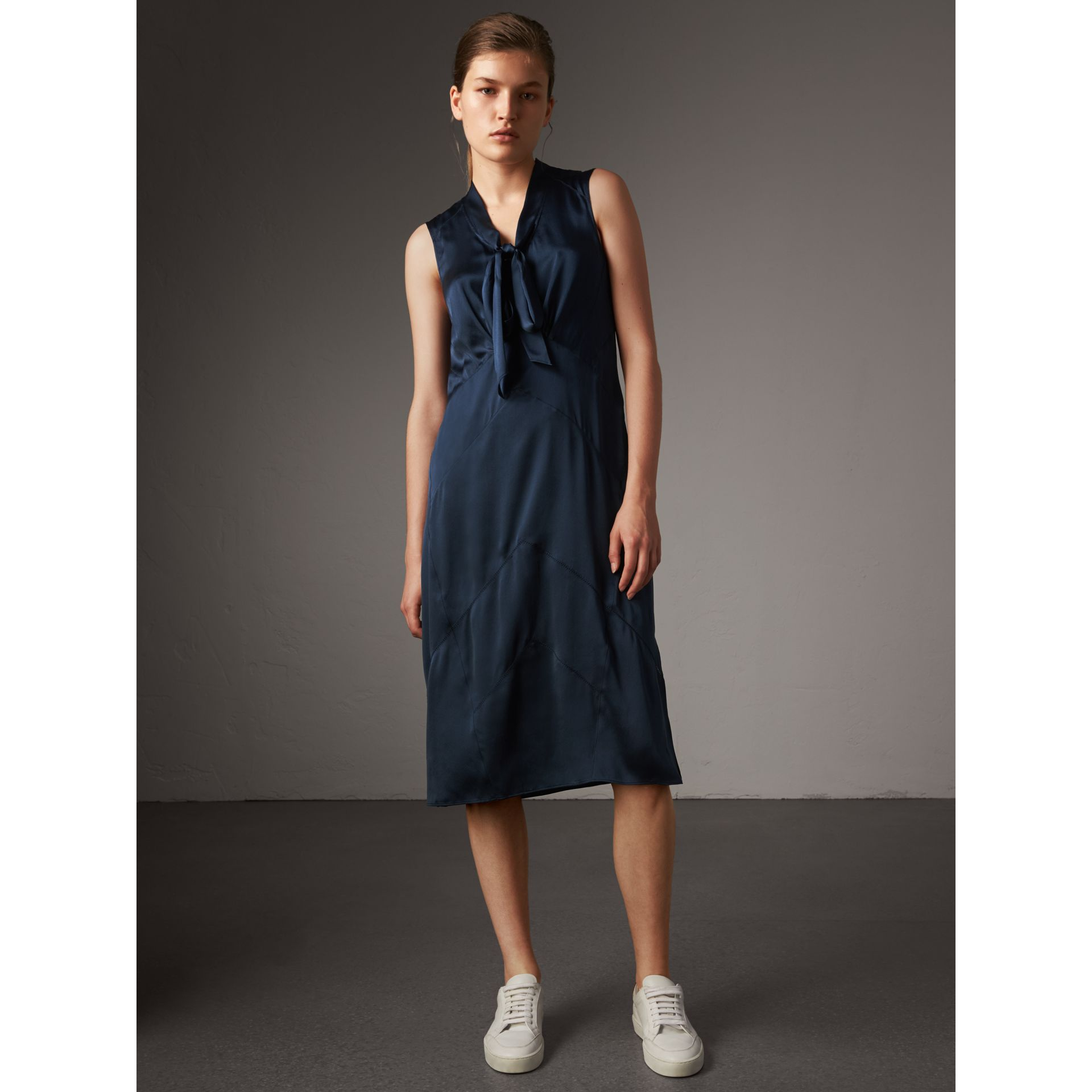 Washed Silk Satin Tie-neck Dress in Navy - Women | Burberry - gallery image 5