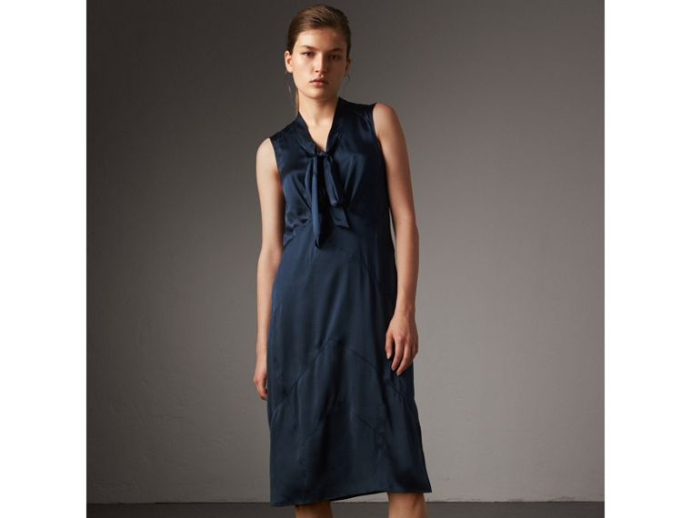 Washed Silk Satin Tie-neck Dress in Navy - Women | Burberry - cell image 4