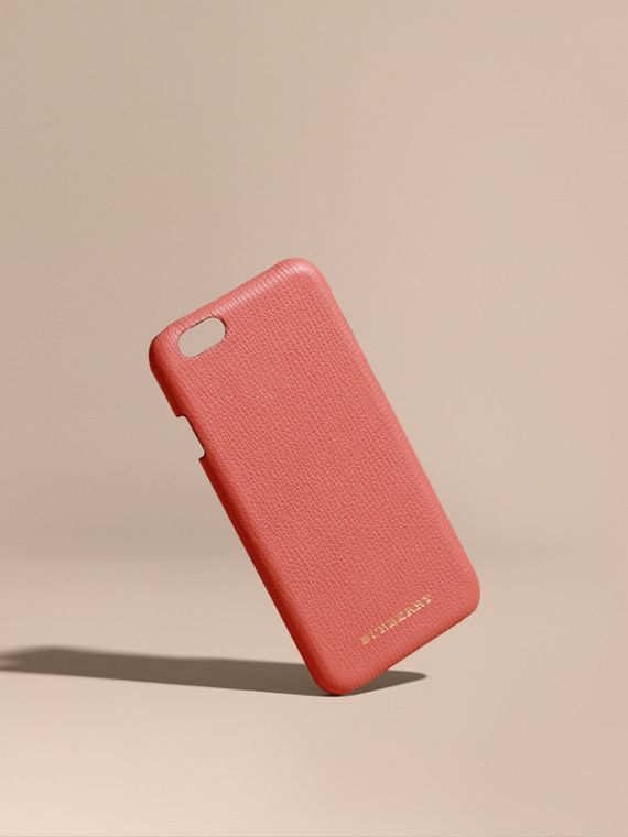 Grainy Leather iPhone 6 Case in Copper Pink - Women | Burberry