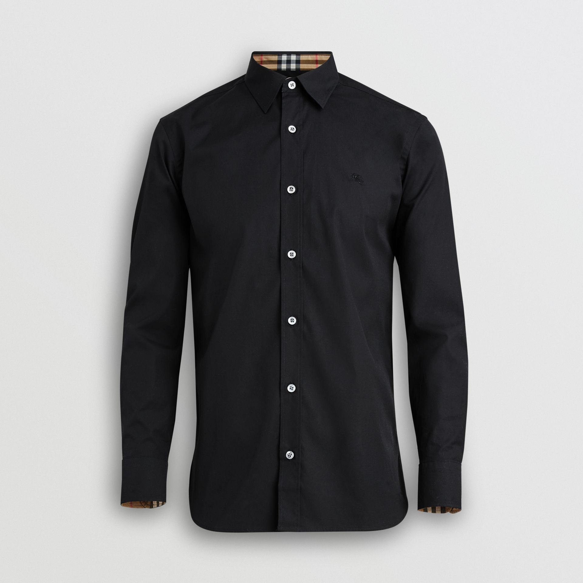 Check Cuff Stretch Cotton Poplin Shirt in Black - Men | Burberry Australia - gallery image 3