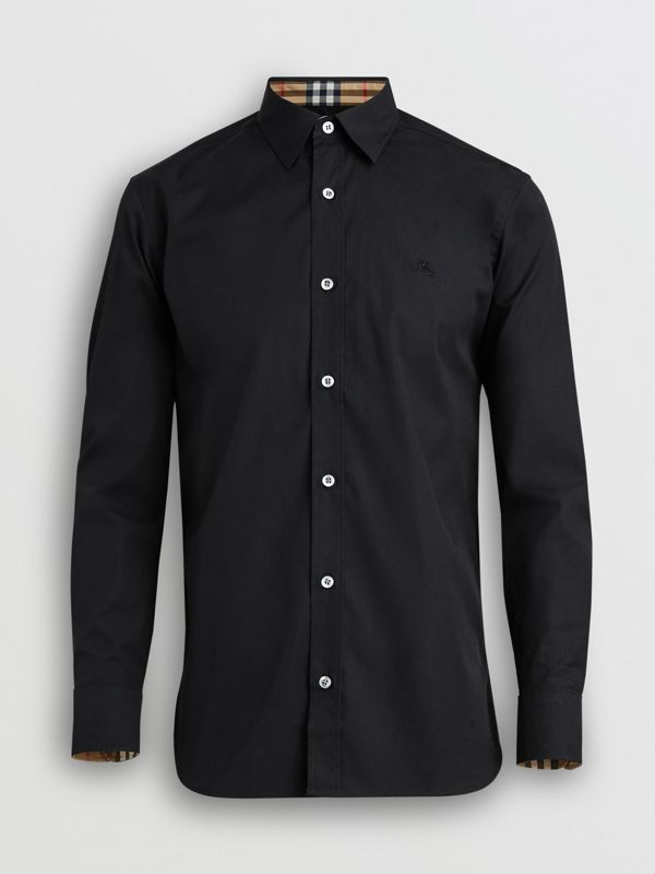 Check Cuff Stretch Cotton Poplin Shirt in Black - Men | Burberry Australia - cell image 3