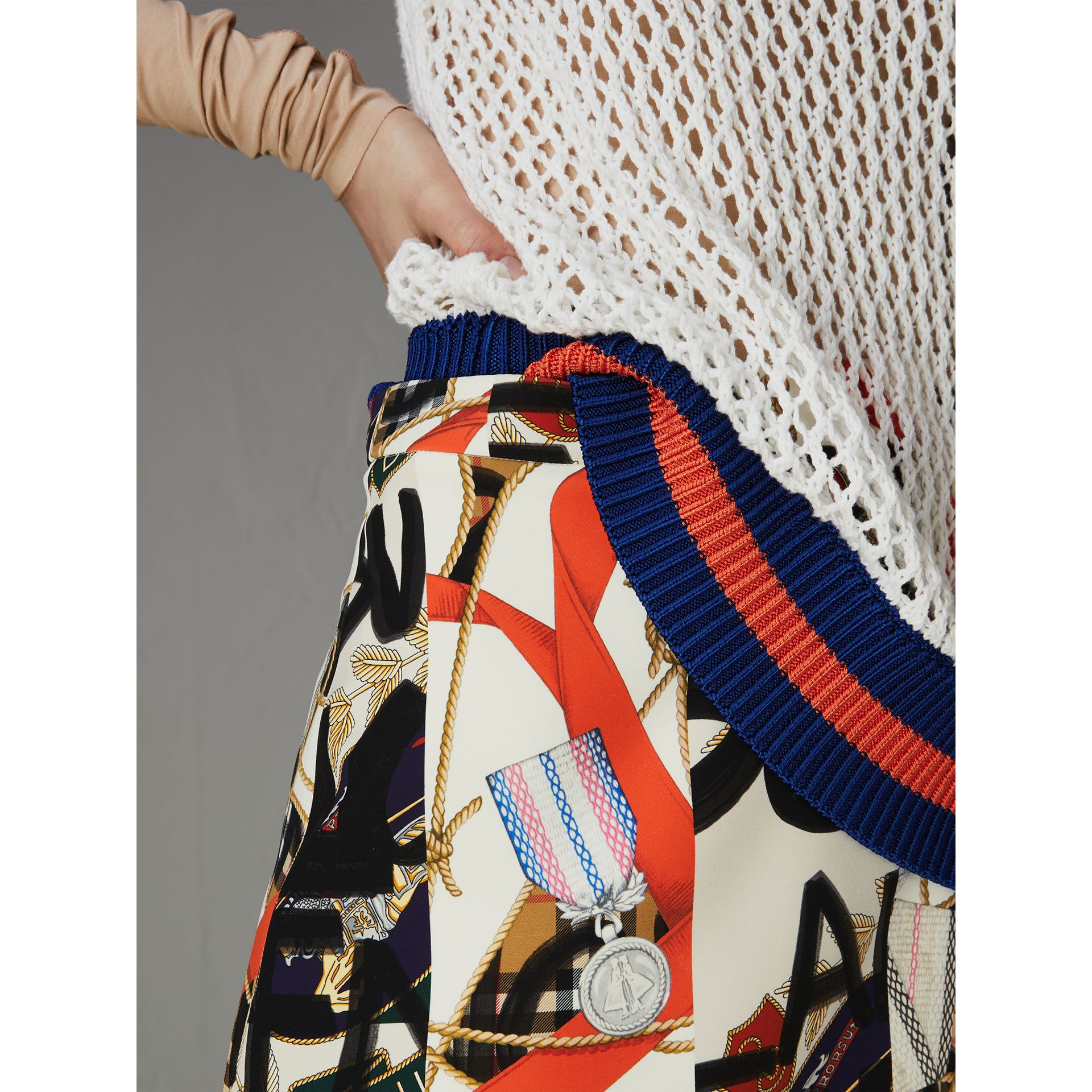Graffiti Archive Scarf Print Silk Wool Mini Skirt in Stone - Women | Burberry Australia - gallery image 1