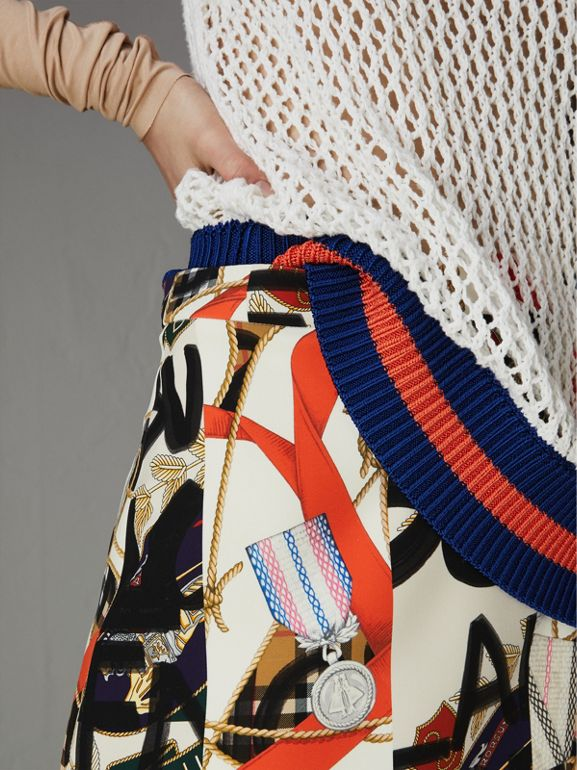 Graffiti Archive Scarf Print Silk Wool Mini Skirt in Stone - Women | Burberry Australia - cell image 1