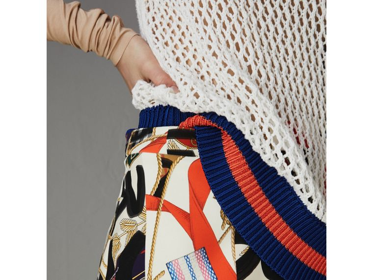 Graffiti Archive Scarf Print Silk Wool Mini Skirt in Stone - Women | Burberry - cell image 1