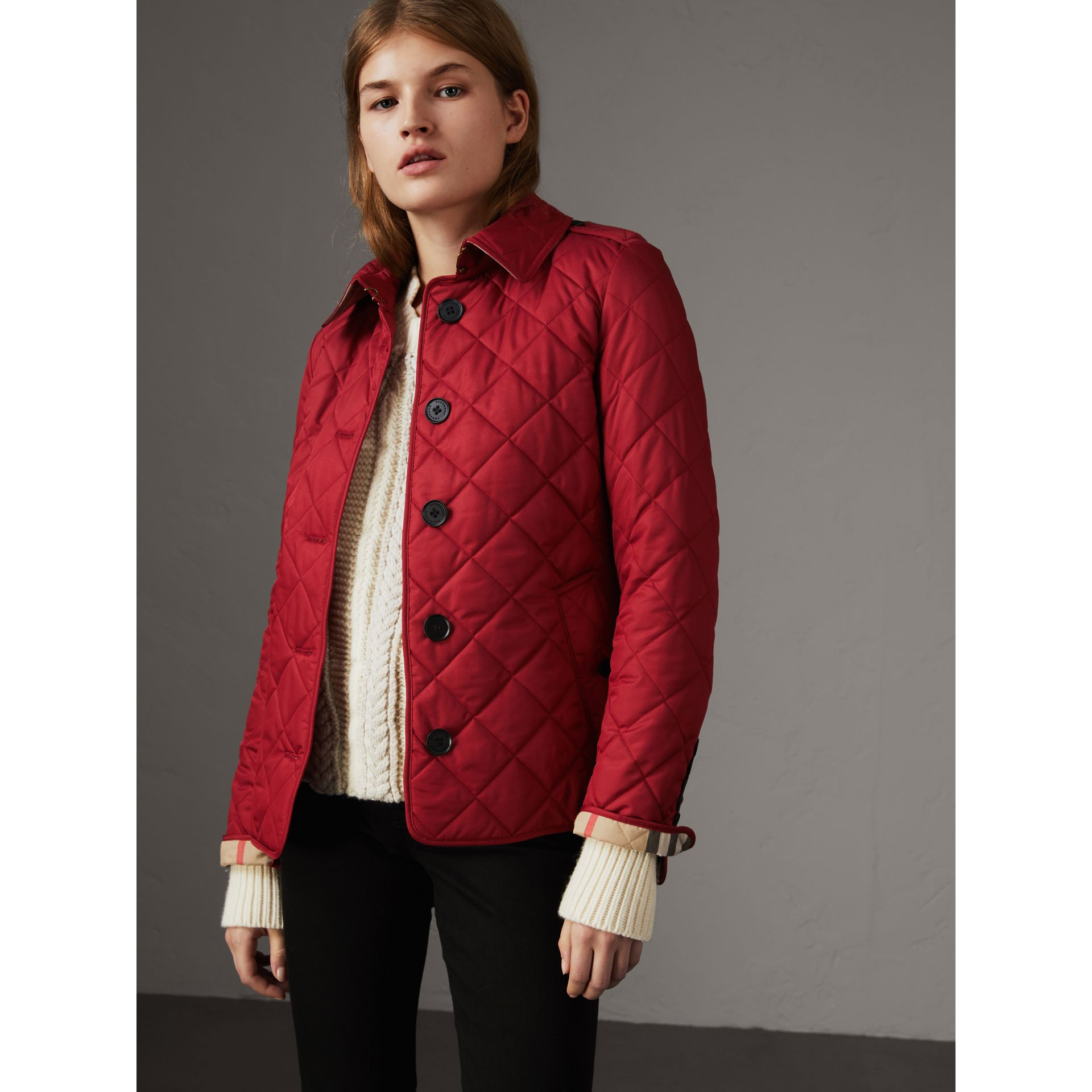 Diamond Quilted Jacket in Parade Red - Women | Burberry United States - gallery image 7