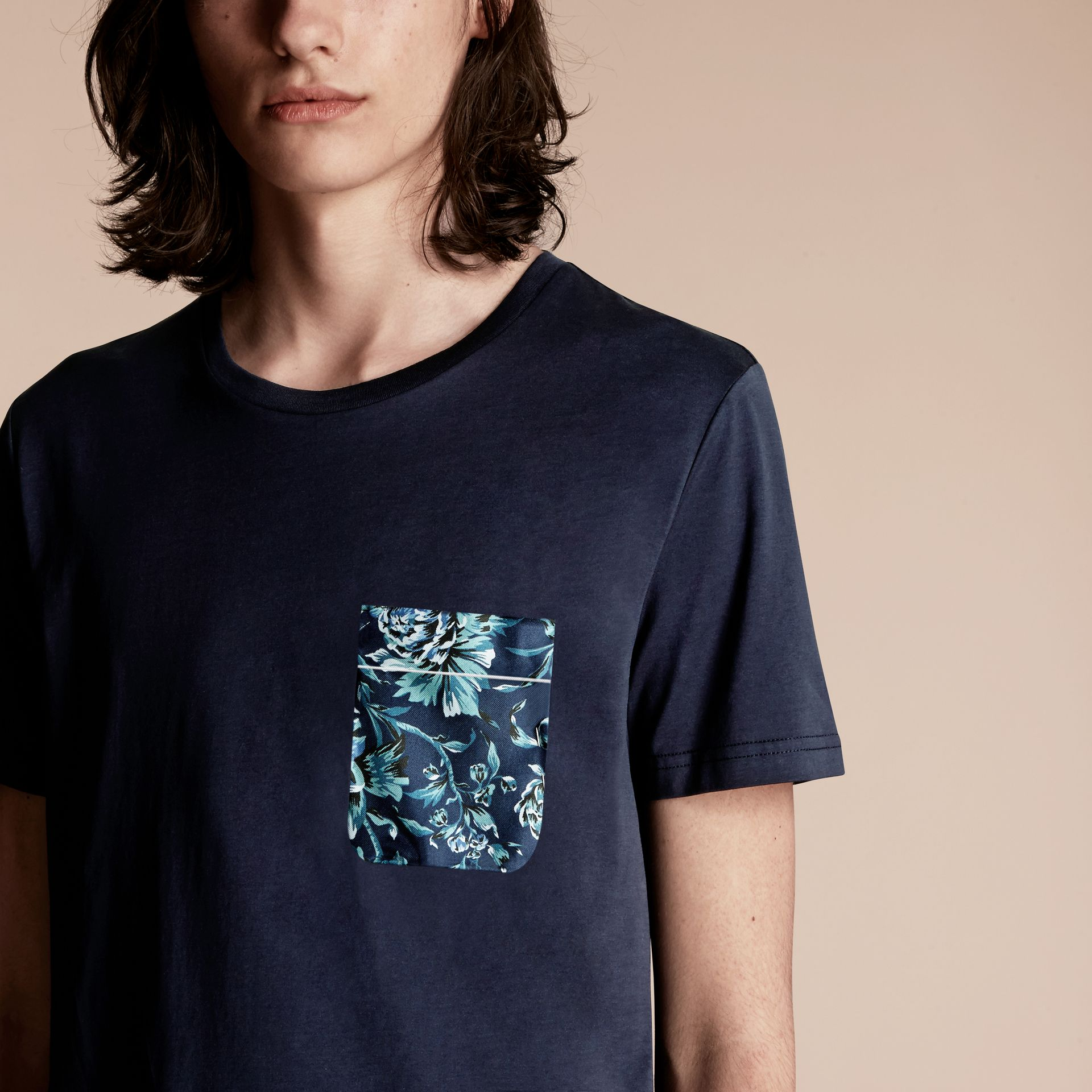 Navy Cotton T-shirt with Peony Rose Print Pocket - gallery image 5