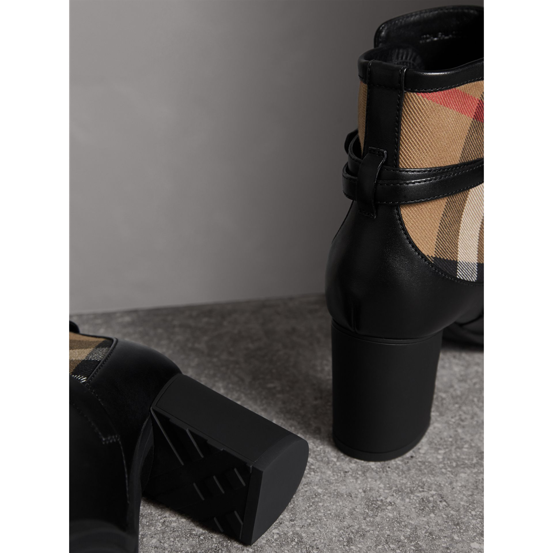 House Check and Leather Ankle Boots in Black - Women | Burberry Canada - gallery image 2