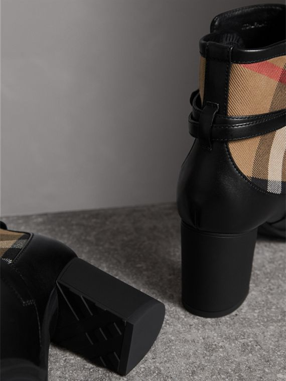 House Check and Leather Ankle Boots - Women | Burberry - cell image 2