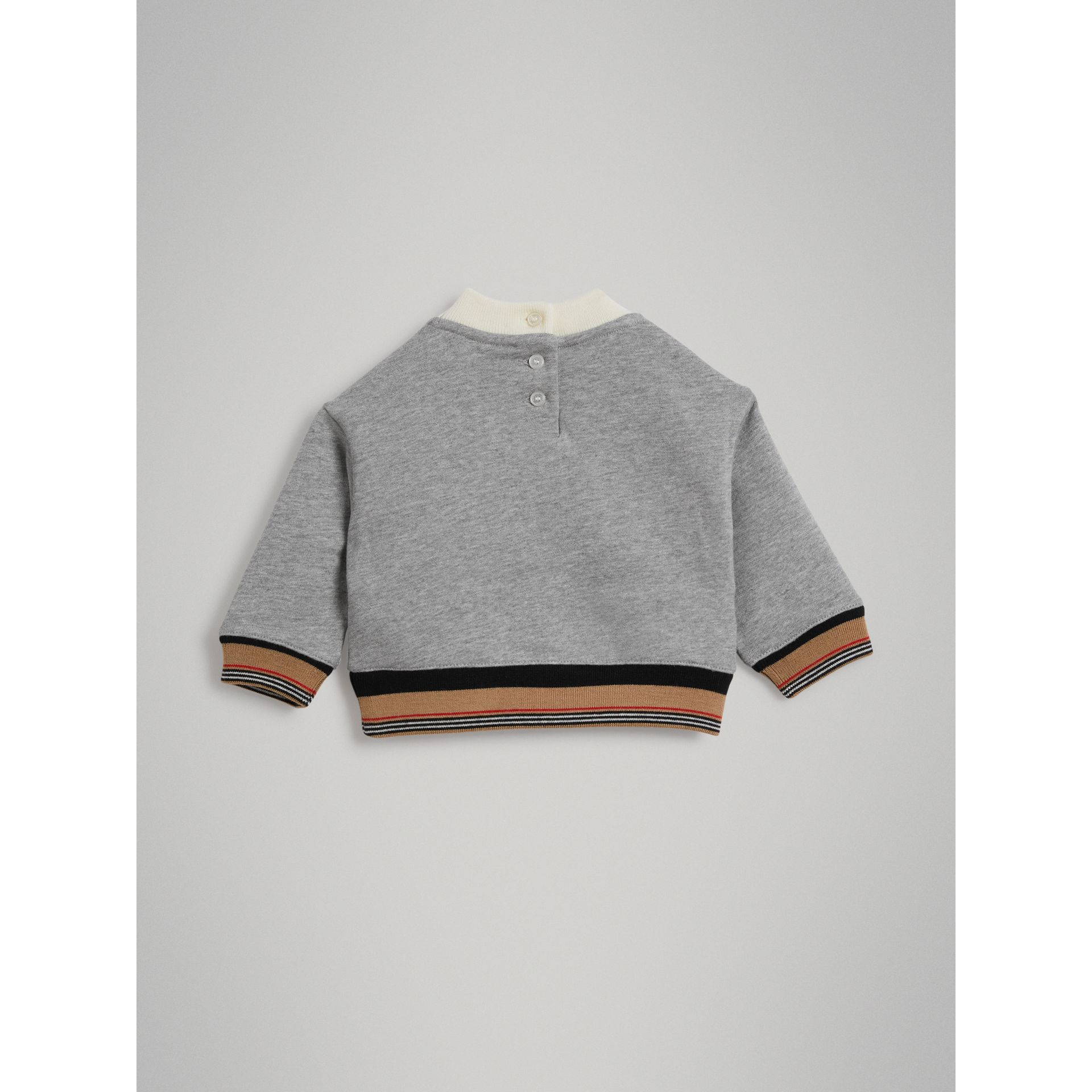 Embroidered Logo Cotton Sweatshirt in Grey Melange - Children | Burberry United Kingdom - gallery image 3