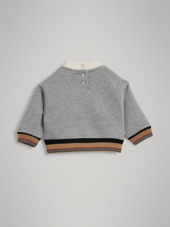 Embroidered Logo Cotton Sweatshirt in Grey Melange | Burberry - cell image 3