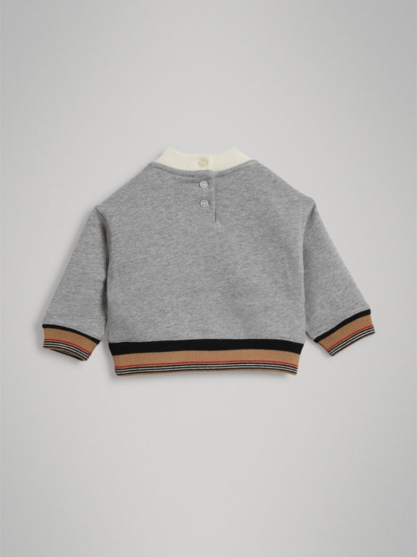 Embroidered Logo Cotton Sweatshirt in Grey Melange - Children | Burberry United Kingdom - cell image 3