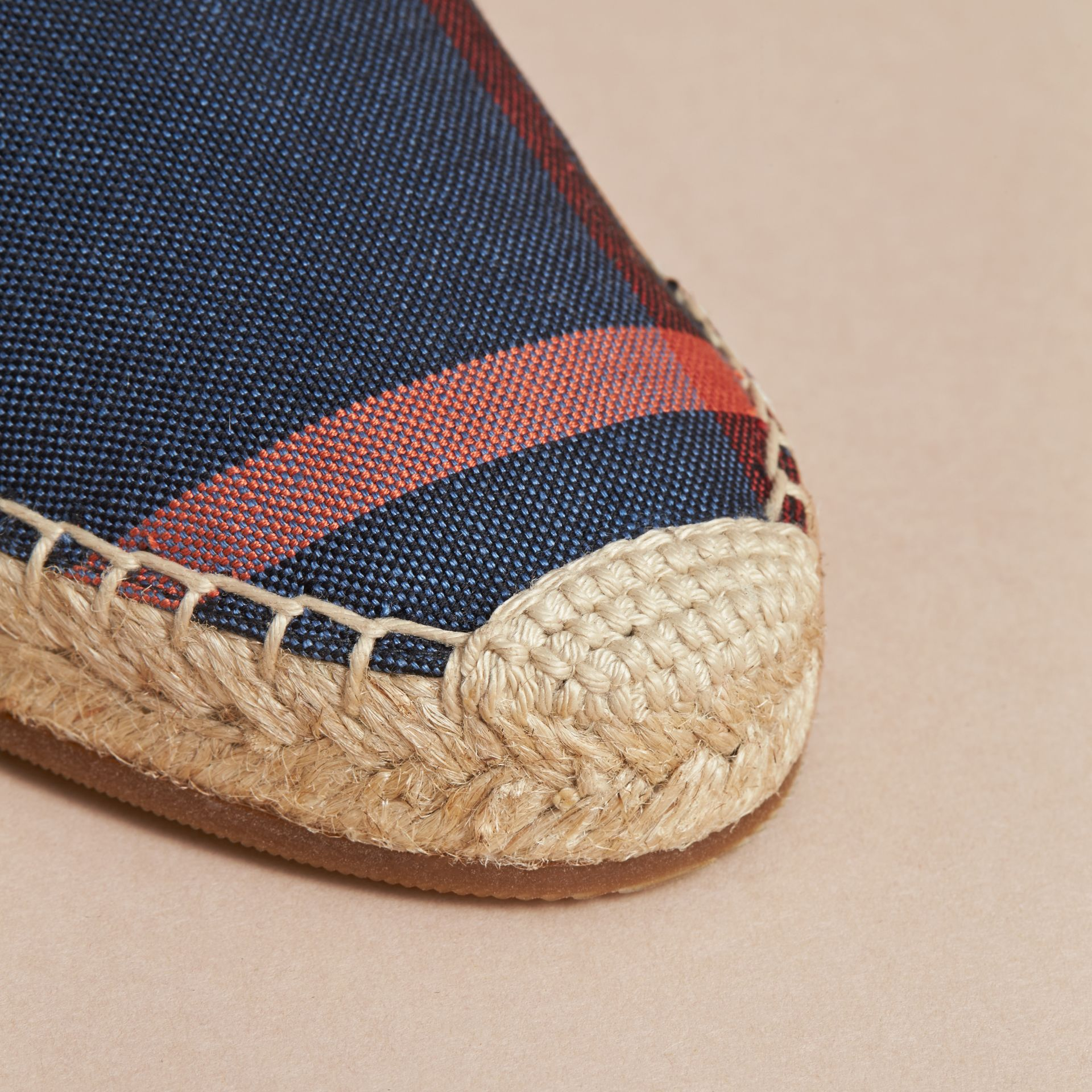Leather and Check Linen Cotton Espadrille Sandals in Navy - Women | Burberry - gallery image 5