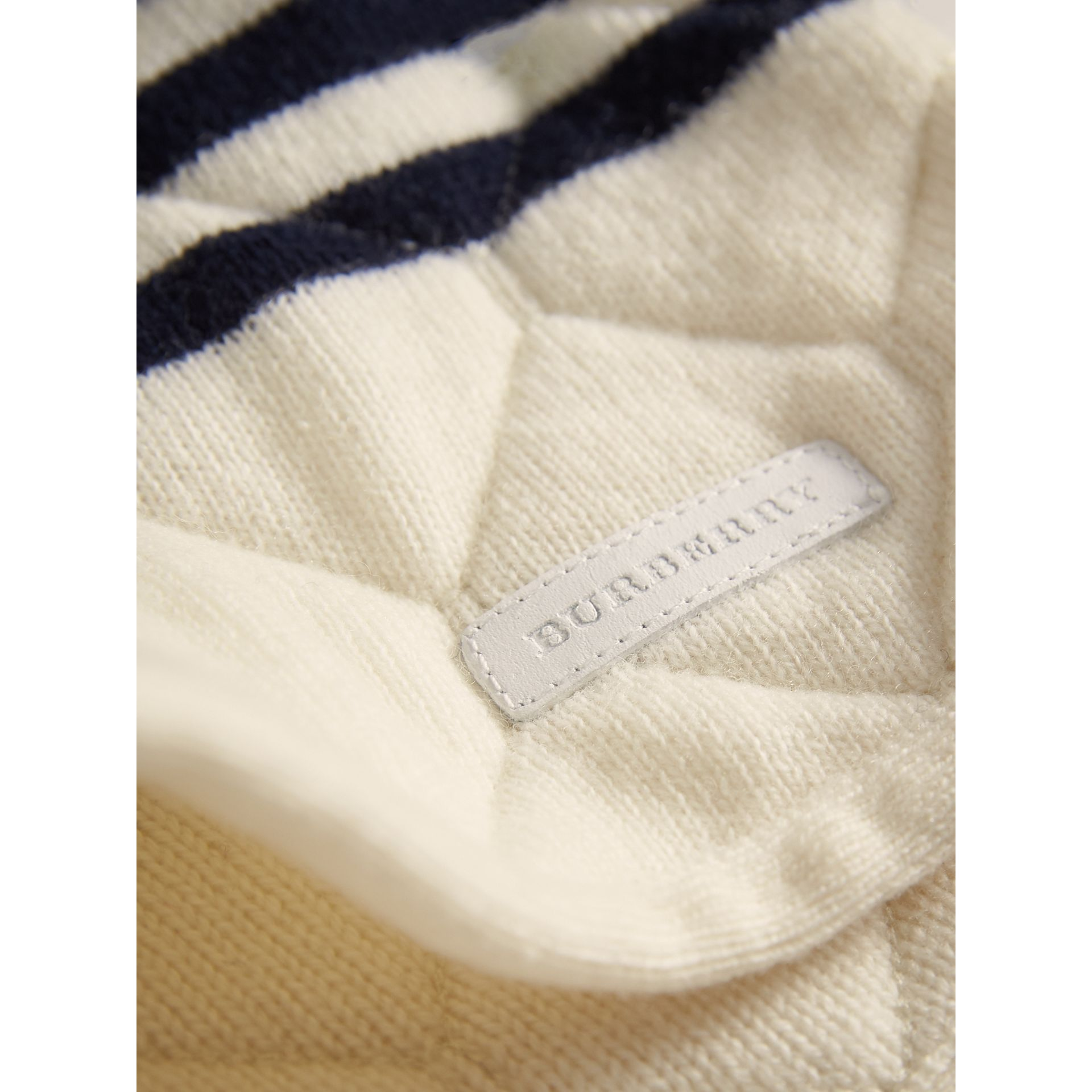 Quilted Breton Stripe Wool Cashmere Sweater in Natural White - Boy | Burberry - gallery image 2