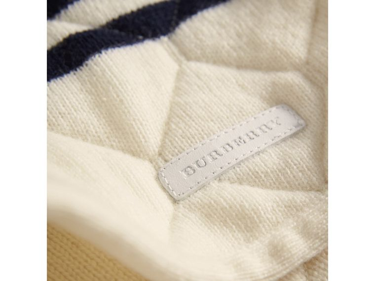Quilted Breton Stripe Wool Cashmere Sweater in Natural White - Boy | Burberry - cell image 1