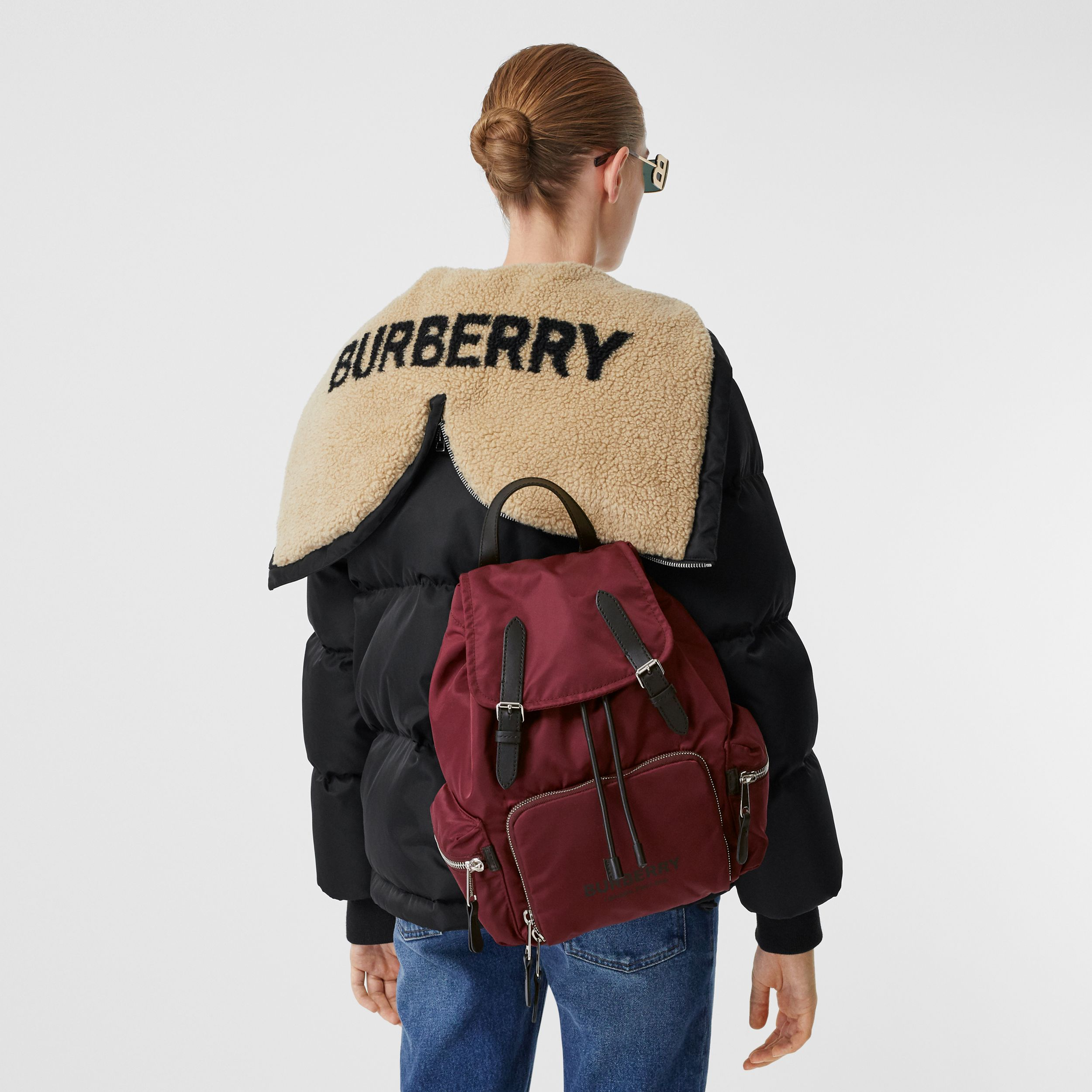 The Medium Rucksack in Logo Print ECONYL® in Burgundy - Women | Burberry - 3