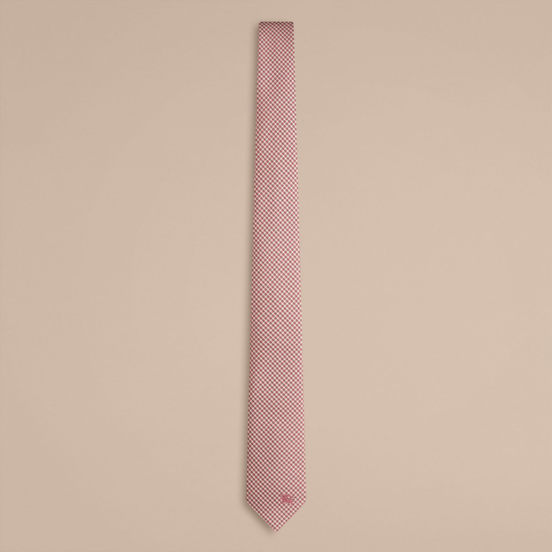 Chalk pink Slim Cut Check Silk Tie Chalk Pink - gallery image 1