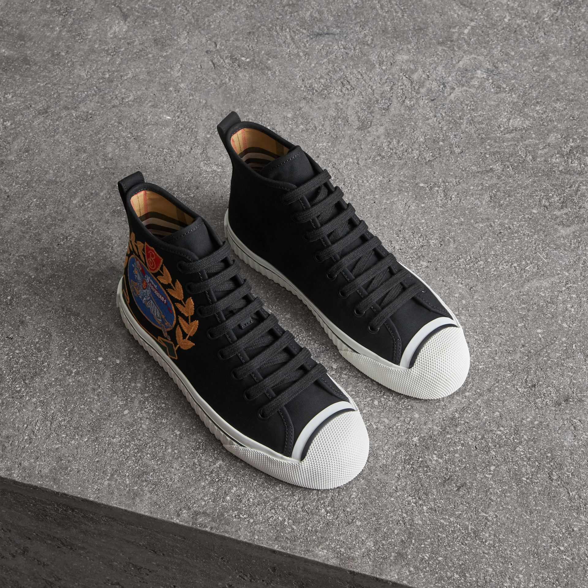 Embroidered Archive Logo High-top Sneakers in Black - Women | Burberry Singapore - gallery image 0
