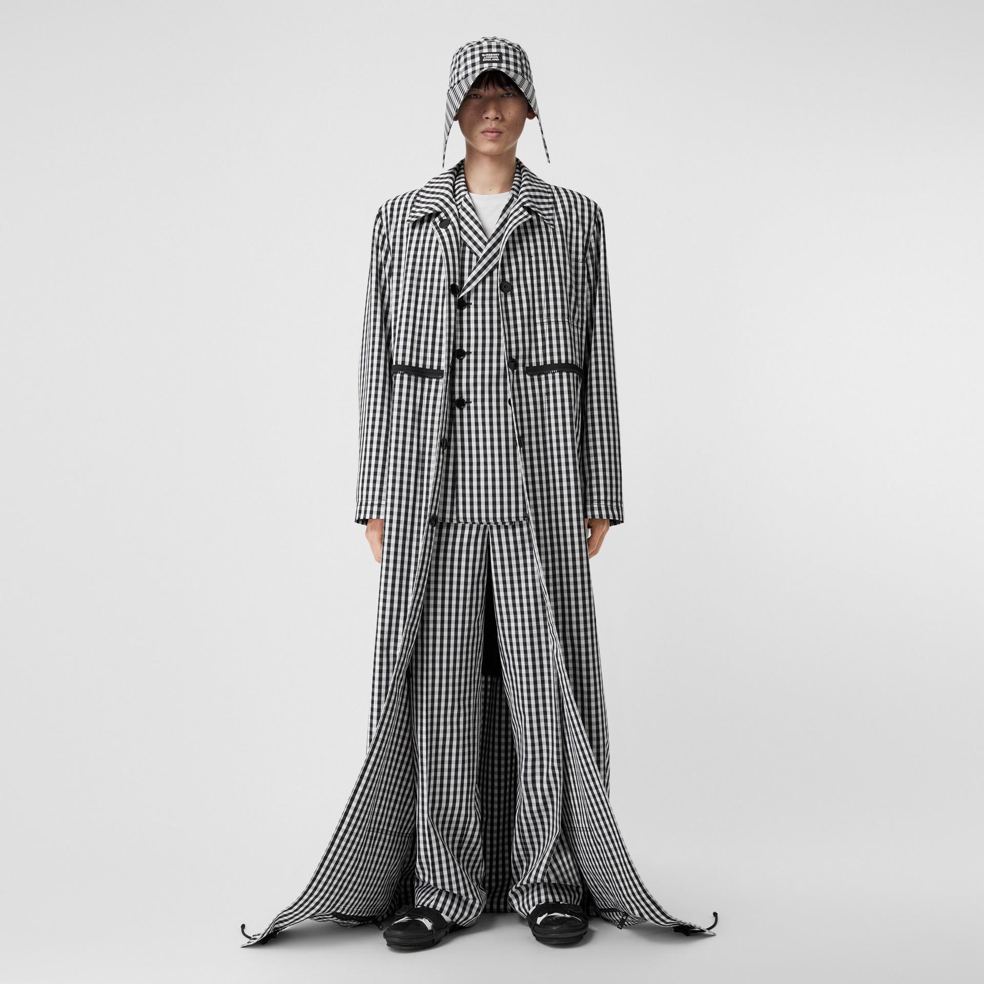 Gingham Technical Wool Loop-back Car Coat in Black | Burberry Canada - gallery image 5