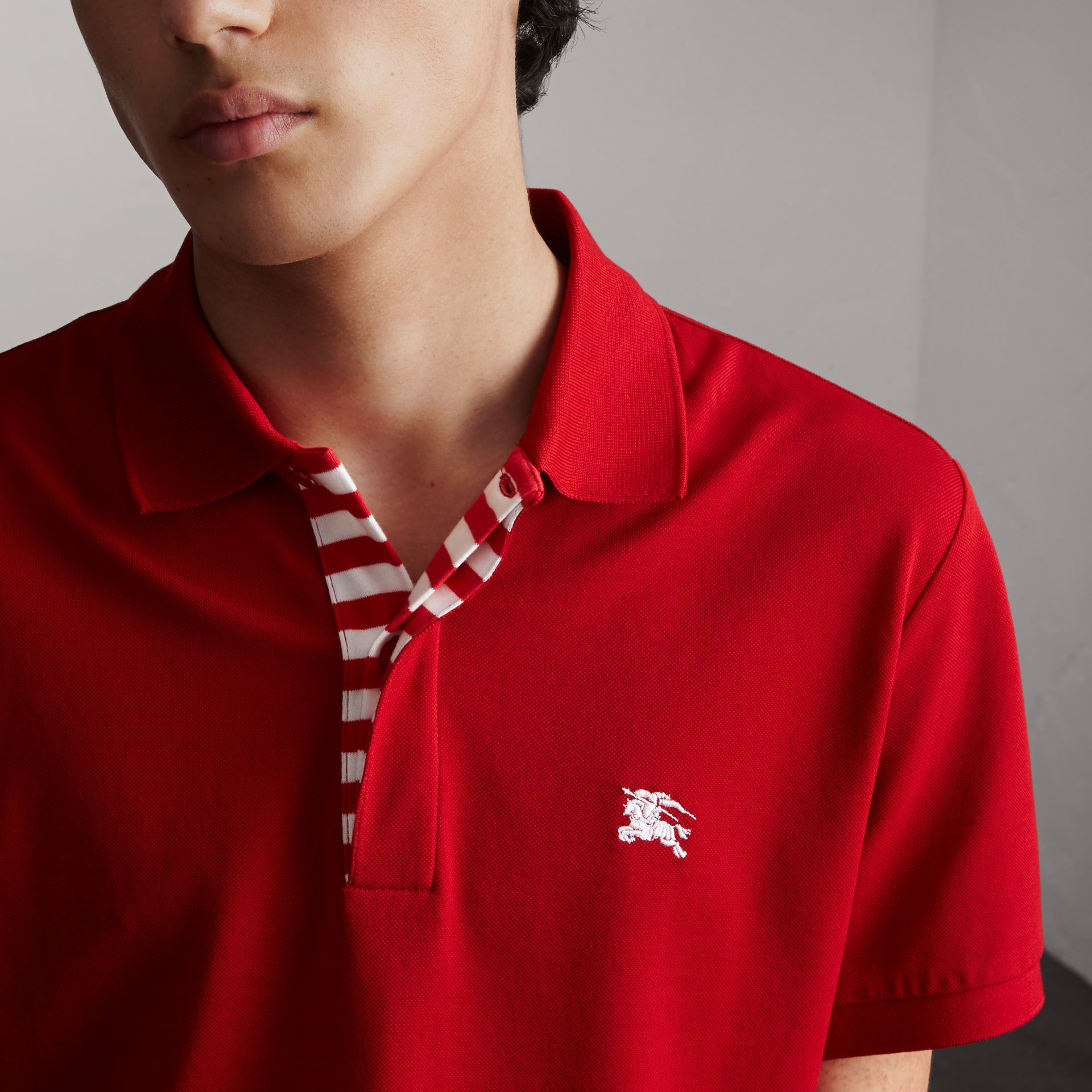 Striped Placket Cotton Piqué Polo Shirt in Military Red - Men | Burberry - gallery image 5