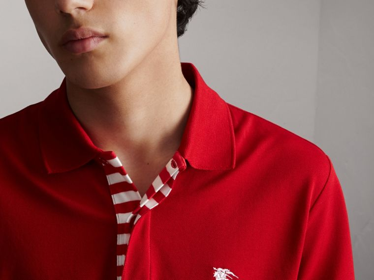 Striped Placket Cotton Piqué Polo Shirt in Military Red - cell image 4