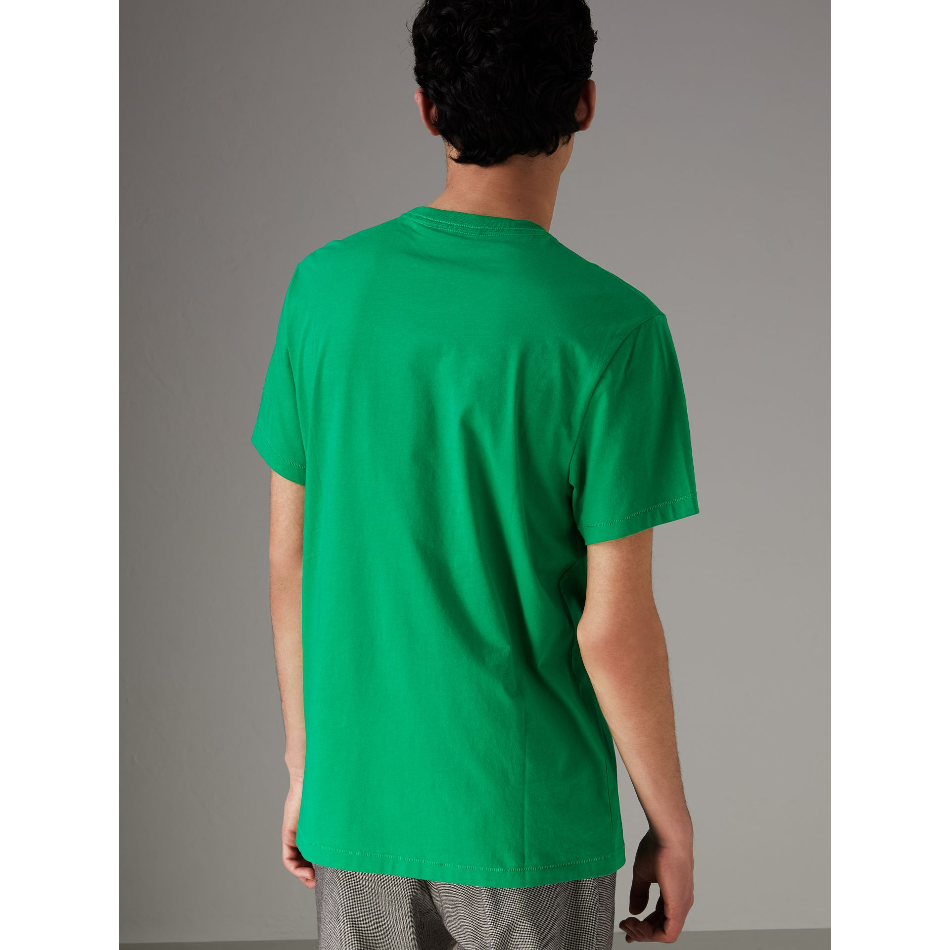 Cotton Jersey T-shirt in Bright Green - Men | Burberry - gallery image 2