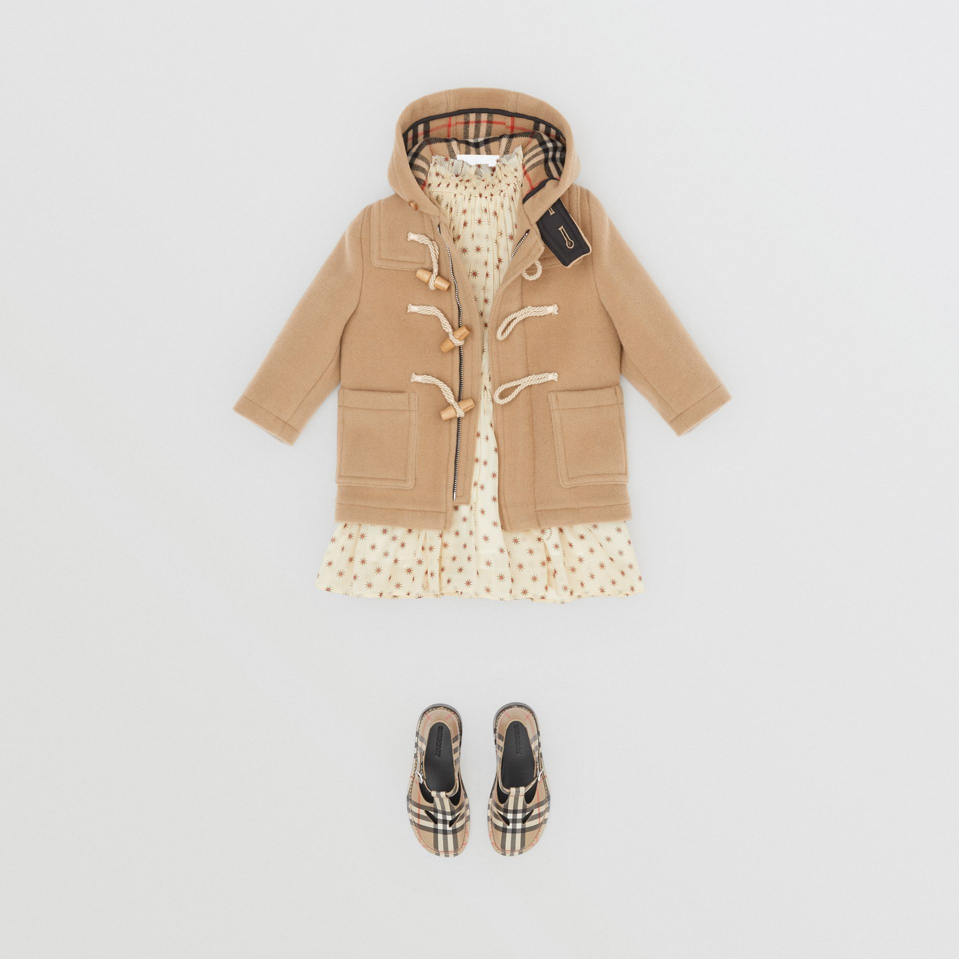 Boiled Wool Duffle Coat in Archive Beige - Children | Burberry Australia - gallery image 2
