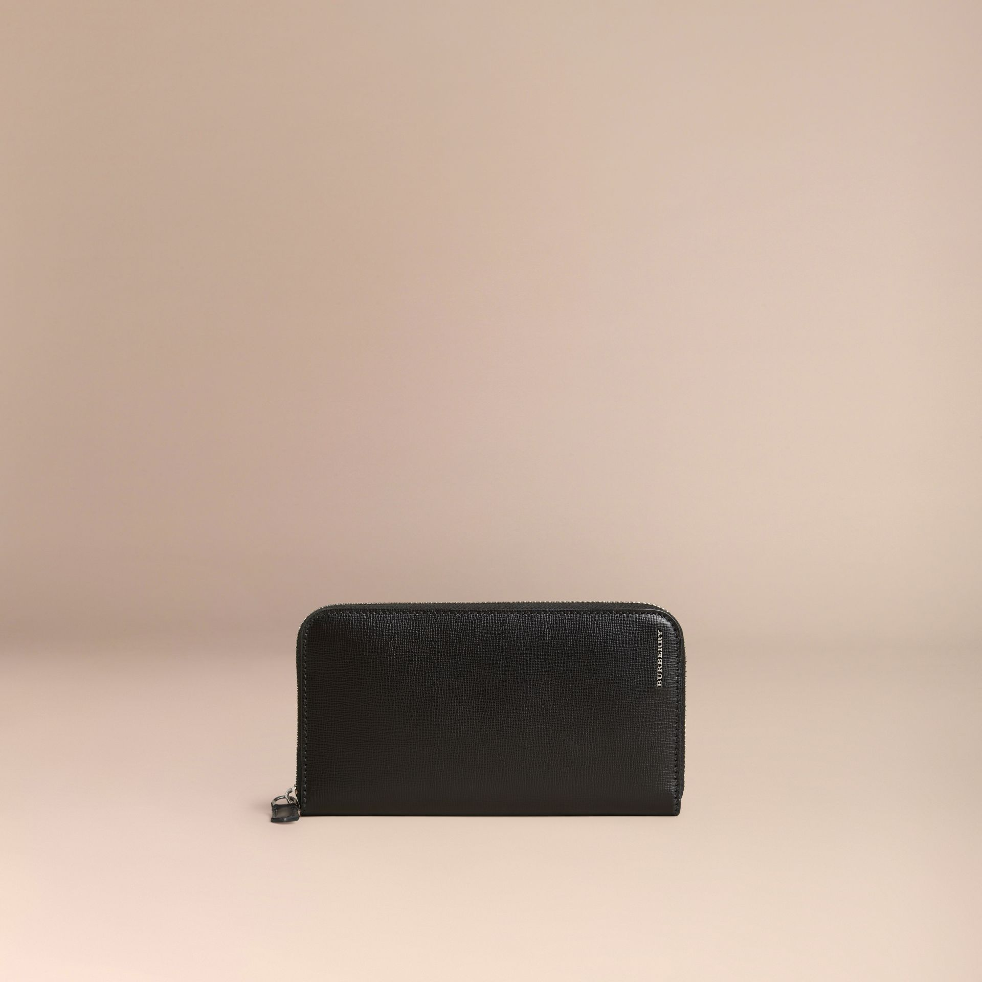 Black London Leather Ziparound Wallet Black - gallery image 3