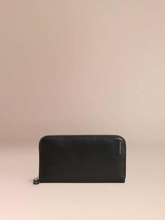 Black London Leather Ziparound Wallet Black - cell image 2