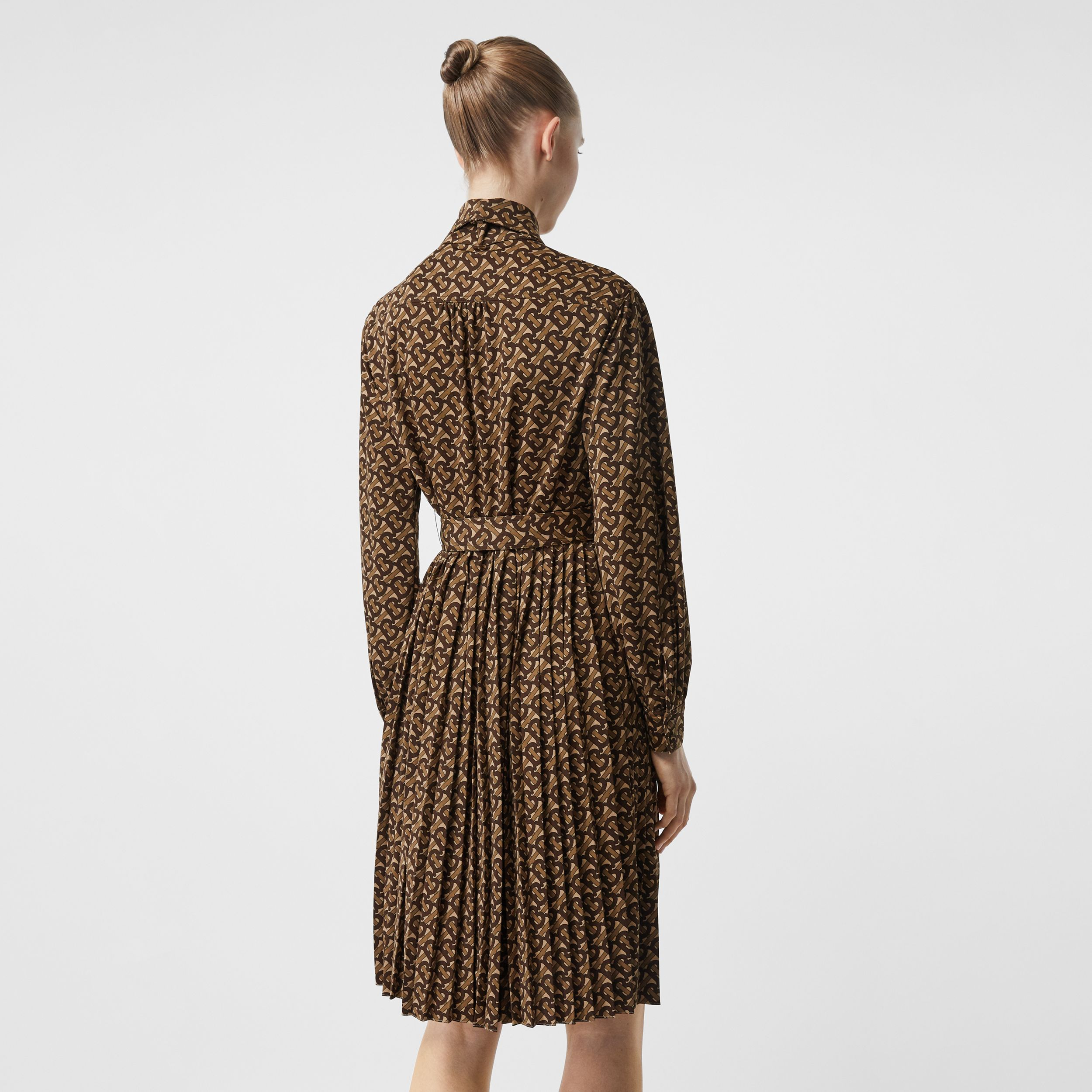 Pleated Monogram Print Jersey Tie-waist Shirt Dress in Bridle Brown - Women | Burberry - 3