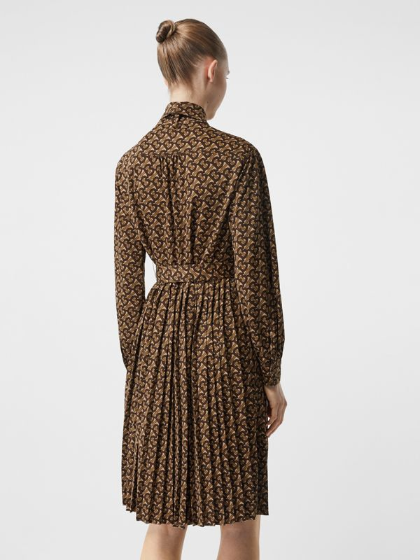 Pleated Monogram Print Jersey Tie-waist Shirt Dress in Bridle Brown - Women | Burberry - cell image 2
