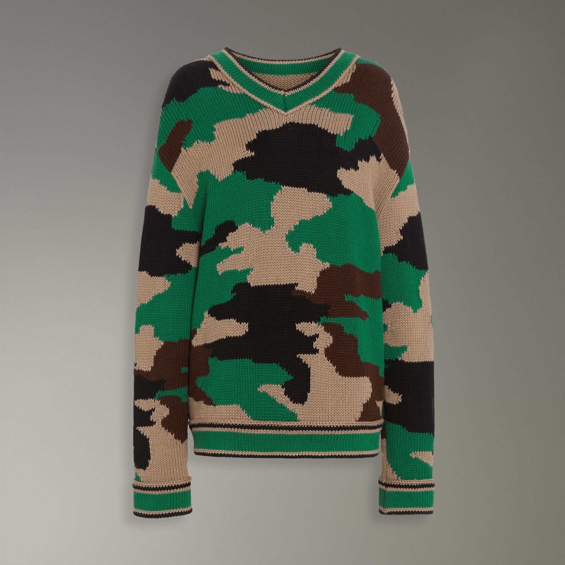 Camouflage Intarsia Cotton V-neck Sweater in Military Khaki - Women | Burberry Australia - gallery image 3