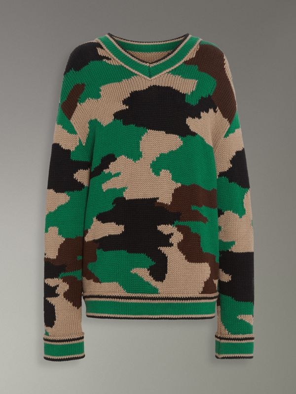 Camouflage Intarsia Cotton V-neck Sweater in Military Khaki - Women | Burberry Canada - cell image 3