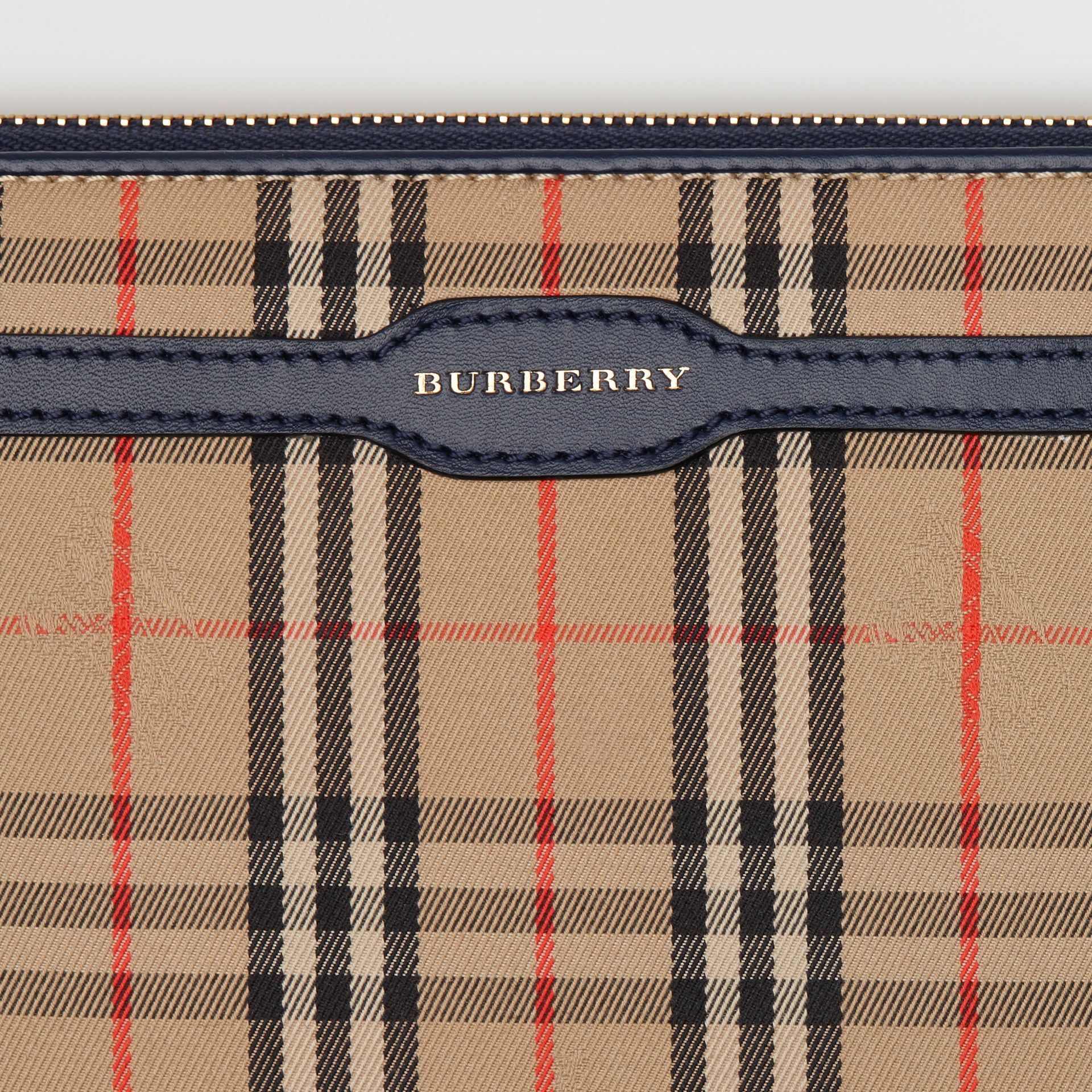 1983 Check and Leather Travel Wallet in Ink Blue - Men | Burberry Hong Kong - gallery image 1