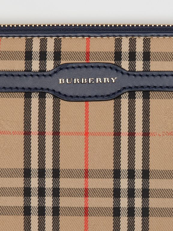 1983 Check and Leather Travel Wallet in Ink Blue - Men | Burberry Hong Kong - cell image 1