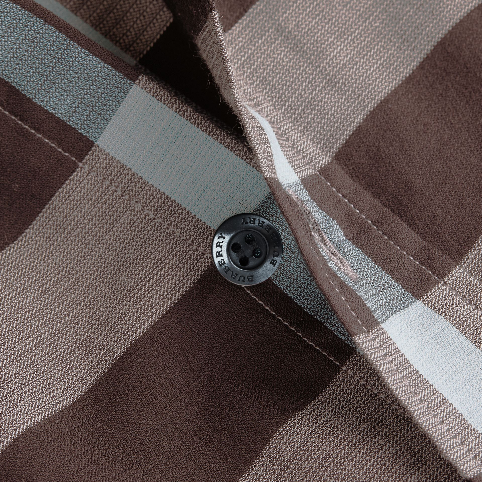 Button-down Collar Short-sleeve Check Cotton Shirt in Mist Grey - gallery image 2