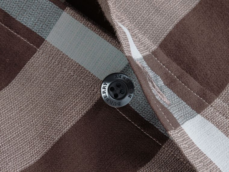 Button-down Collar Short-sleeve Check Cotton Shirt in Mist Grey - cell image 1
