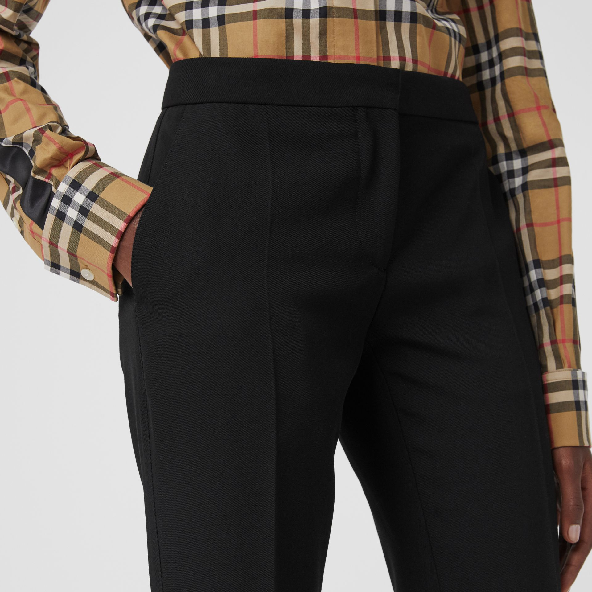Straight Fit Wool Tailored Trousers in Black - Women | Burberry United Kingdom - gallery image 1