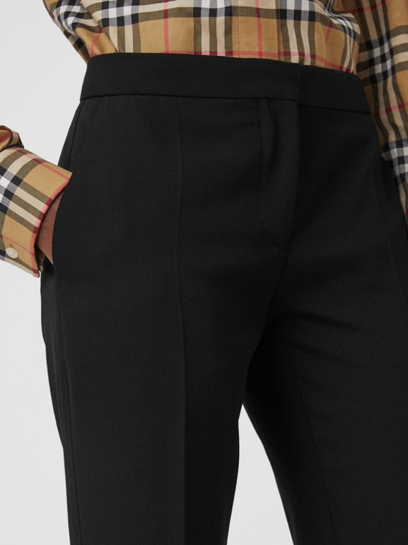 Straight Fit Wool Tailored Trousers in Black - Women | Burberry United Kingdom - cell image 1