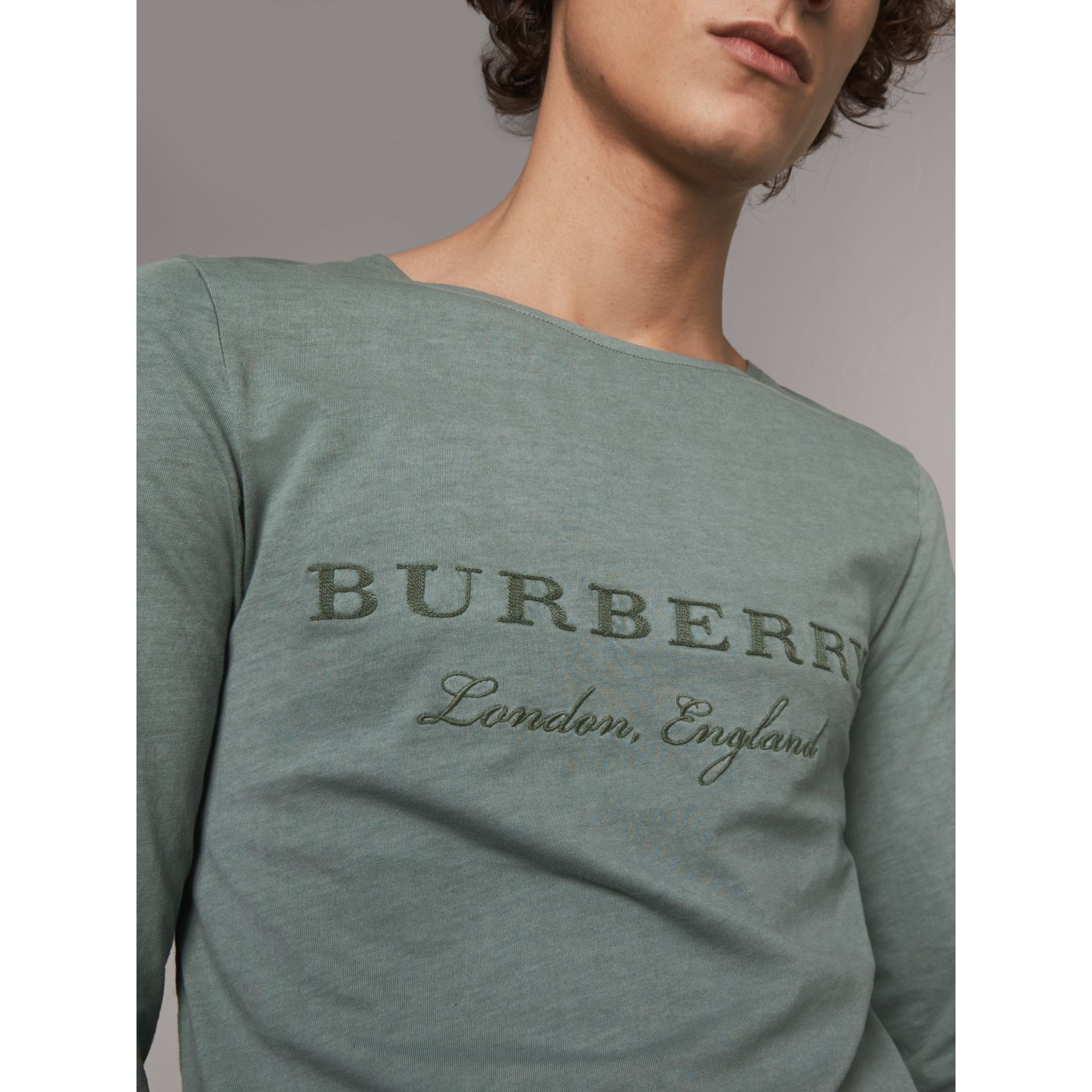 Long-sleeve Embroidered Cotton Top in Cyan Green - Men | Burberry United Kingdom - gallery image 1