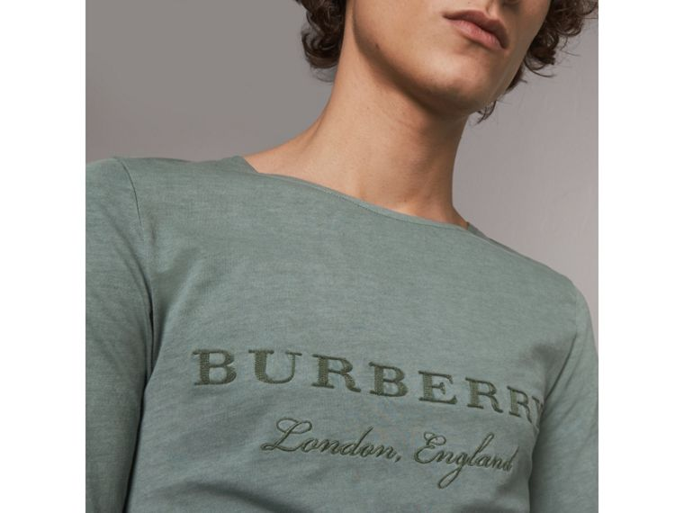 Long-sleeve Embroidered Cotton Top in Cyan Green - Men | Burberry Singapore - cell image 1