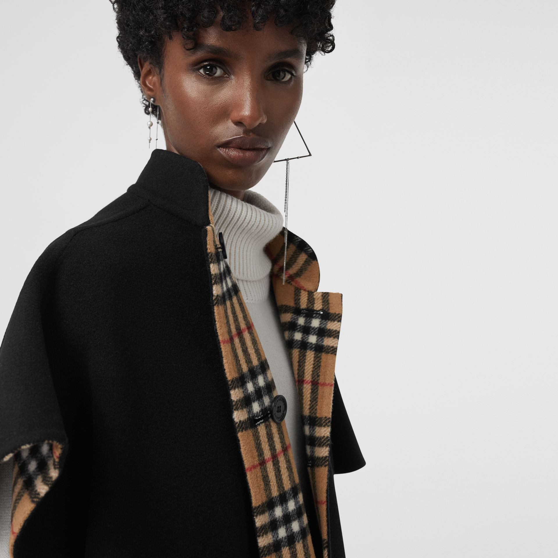 Reversible Vintage Check Poncho in Black - Women | Burberry - gallery image 1